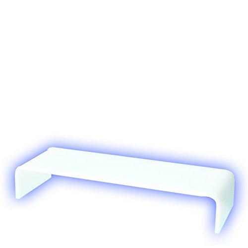 Holzhäuser Prodest/Monitor Ständer Erhöhung/Bildschirm Standfuß/TV Bank Aufsatz aus Acrylglas - Weiss - durchscheinend (50 x 20 x 10cm)