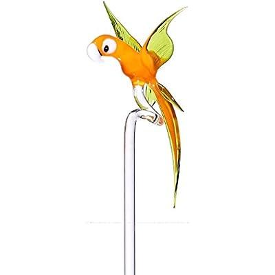 """Exklusiver handgeformter Orchideenstab, Rankhilfe """"PAPAGEI"""" orange/gruen, H=ca. 44 cm, handgeformt in Deutschland - jedes Stück ein Unikat (ART GLASS powered by CRISTALICA) von CRISTALICA bei Du und dein Garten"""