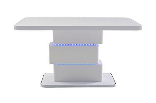 CAVADORE Esszimmertisch SLICE / Moderner Esstisch 160 cm mit blauer LED Beleuchtung / Designmöbel inHochglanz Weiß / Bodenplatte mit verchromten Rand / 160x76x90 cm (LxBxH) Ausgefallene Esstisch