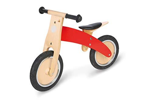 Pinolino Laufrad Jojo, aus Holz, unplattbare Bereifung, umbaubar vom Chopper zum Laufrad, für Kinder von 2 – 5 Jahren, rot
