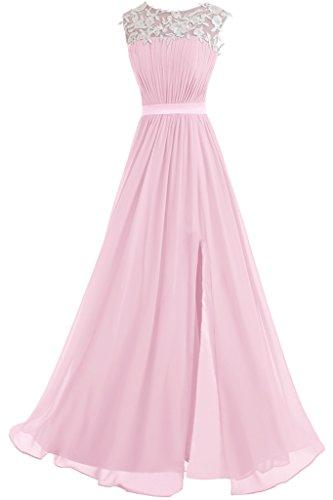 Victory Bridal Elegant Spitze Damen Lang Abendkleider Festliche Partykleider Ballkleider Neu 2015 Rosa