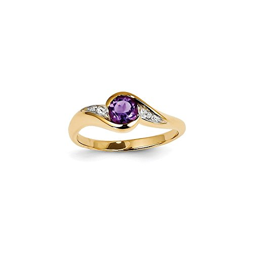 Solid Yellow Gold Engagement Ring of 14 Carat with Diamonds and Purple Simulated Amethyst (0,01 Carat). (2 mm)