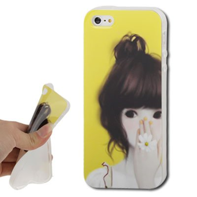 Girl-Daisy Ring Pattern Translucent Frame TPU Protection Coque Case Etui Coque pour iPhone 5 5S & (Yellow)