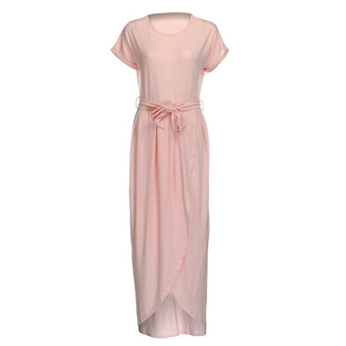 Bekleidung Longra Damen Sommerkleid Boho Lange Maxi Kleid Abend Party Strand Kleider Sundress Pink