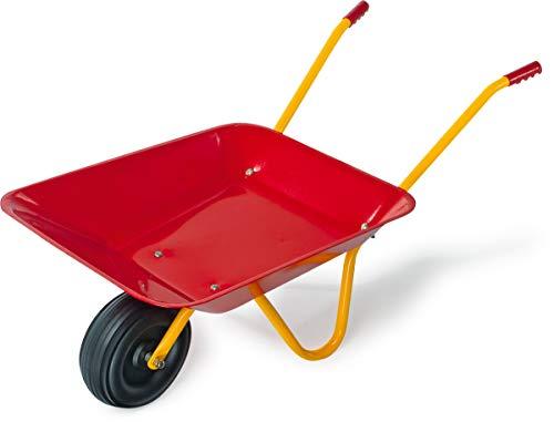Blechkarre im roten Design, Kinderschubkarre aus Metall mit breitem Kunststoffrad und Bügelständer, animiert kleine Helfer zur tatkräftigen Gartenarbeit, auch als Dekoration im Garten geeignet
