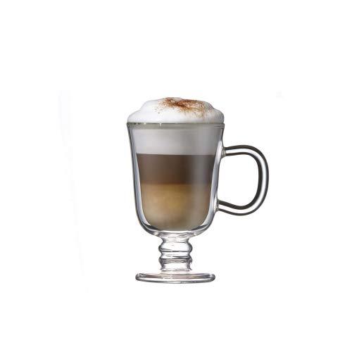 Double Kaffee Tasse Set von 2, Borosilikatglas, Wall Irish Coffee Glass Mug 225ml Set of 2, 225ml Set of 2