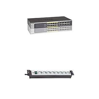 Netgear JGS524PE-100EUS 24-Port ProSAFE Smart Managed Plus Gigabit PoE Switch + Brennenstuhl Premium-Line, Steckdosenleiste 8-fach - 19