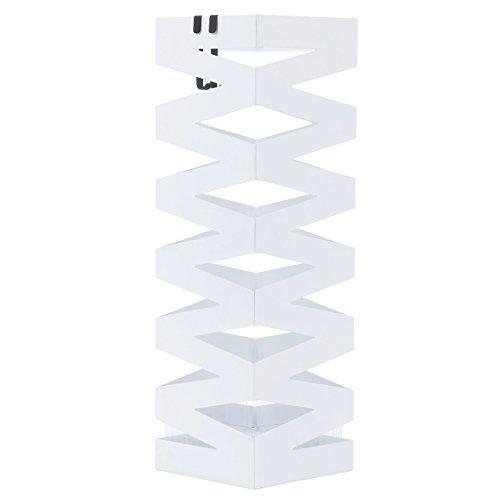 SONGMICS Regenschirmständer aus Metall, quadratischer Schirmständer, Wasserauffangschale herausnehmbar, mit Haken, 15,5 x 15,5 x 49 cm, weiß LUC16W