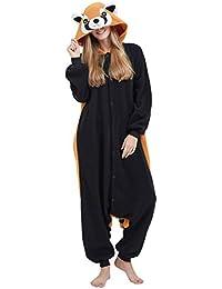 Kigurumi Pijama Animal Entero Unisex para Adultos con Capucha Cosplay Pyjamas Panda Rojo Ropa de Dormir