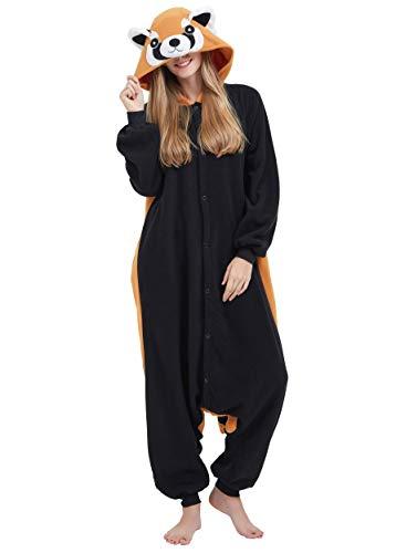 Jumpsuit Onesie Tier Karton Fasching Halloween Kostüm Sleepsuit Cosplay Overall Pyjama Schlafanzug Erwachsene Unisex Lounge Kigurumi Rote Panda for Höhe 140-187CM (Für Halloween Tier-kostüme)