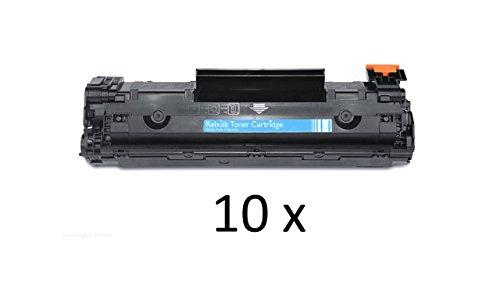 Preisvergleich Produktbild 10 x Toner kompatibel zu HP Laser Jet P1503 1504 1505 1506 M1120 M1522, 10x black / schwarz, je 2.000 Seiten, ersetzt CB436A, 36A, CB436AD