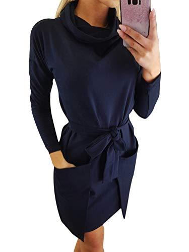 Tomwell Donna Invernale Eleganti Vestito Pullover Jumper Maglione Collo Rotondo Manica Lunga Maglieria Vestiti Maglia Abito con Grandi Tasche Blu IT 48