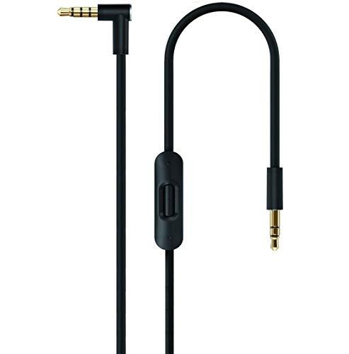 Nero Black 2.0 sostituzione cavo audio con microfono In-line microfono e telecomando Talk per Apple Beats by Dr. Dre/cuffia Monster - studio/solo/Pro/Mixr/Detox/iPhone cavo AUX ausiliario cavi