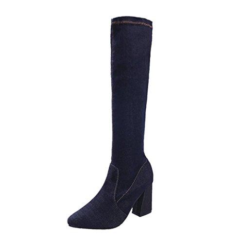 TPulling Herbst Und Winter Schuhe Mode Damen Mit Kniehohen Jeans in Stiefeln Sportschuhe Martin Stiefel (38, Schwarz)