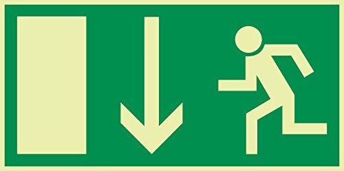 Schild Notausgang Pfeil nach unten langnachleuchtend 297x148mm PVC selbstklebend gemäß BGV 8A (Fluchtwegschild Notausgang Rettungszeichen Rettungsweg Rettungsschild)