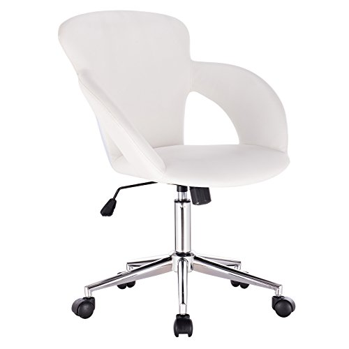 WOLTU® 1x Arbeitshocker Bürostuhl Schreibtischstuhl Rollhocker Bürohocker Drehhocker mit Armlehne, stufenlos höhenverstellbar, Kunstleder, Weiß, BS18ws