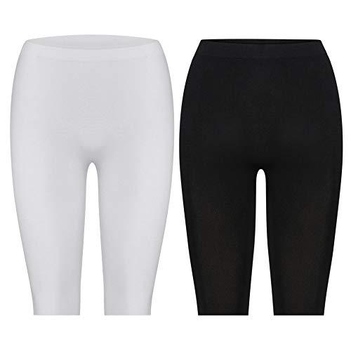 Kendindza Damen Kurze Hose | Legging Knielang | Nahtlos Short (Schwarz | Weiß | 2er Pack, M) - Womens Seamless Hot Kurzen