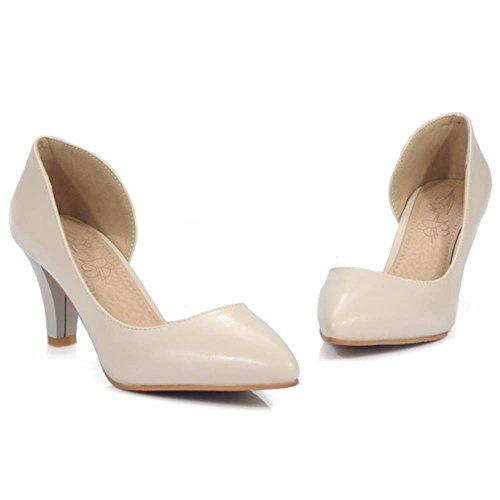 RizaBina Femmes D'orsay Escarpins Elegant Talons Moyen A Enfiler Chaussures Beige