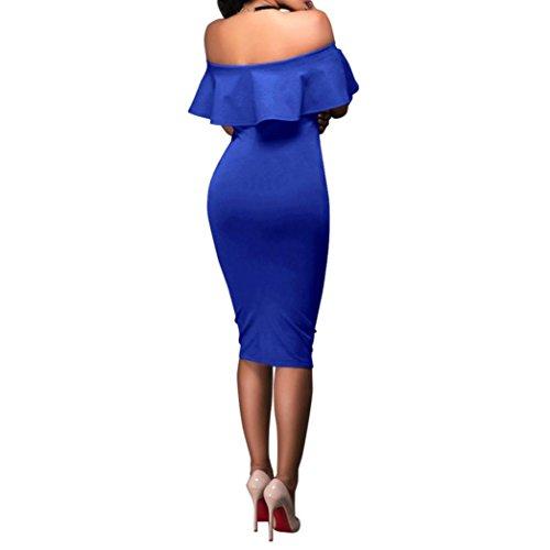 Lange Kleid Damen, Mode Frauen Schulterfrei Kurzarm Bodycon Abendkleid Hochzeit Outdoor Kleid Sunday (Blau, S) (Plus Size Lingerie Länge)