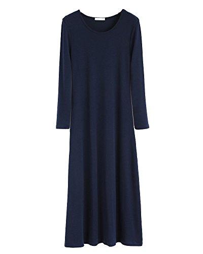 Femmes Robe Col Rond Pull Tunique Manches Longues Sweat-shirt T-shirt Blouse Bleu Marine