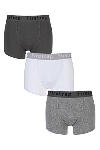 Mens 3er-Peck Firetrap Plain Boxershorts Grau / weiß XL