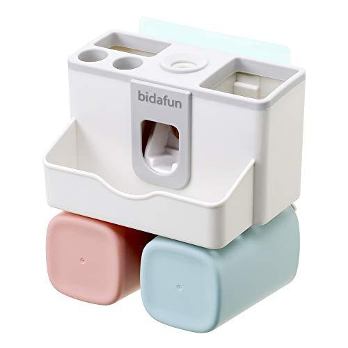 bidafun Soporte de Cepillo de Dientes Conjunto de Montaje en Pared Pasta de Dientes Dispensador Almacenamiento Conjunto Baño Organizador (plástico 2 Pack)