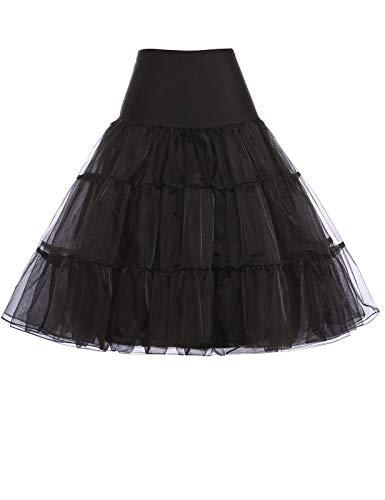 GRACE KARIN Jupon années 50 Vintage en Tulle Rockabilly Petticoat Grande Taille Noir 4X CL8922-1