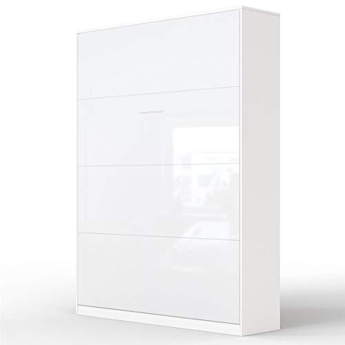 SMARTBett Basic 140x200 Vertikal Weiss/Weiss Glanz Schrankbett | ausklappbares Wandbett, ideal geeignet als Wandklappbett fürs Gästezimmer, Büro, Wohnzimmer, Schlafzimmer