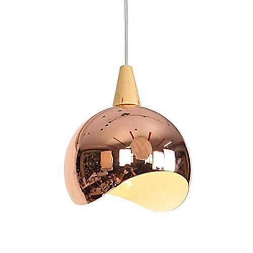 Einfache und stilvolle LED Schüssel aus Holz Kronleuchter Lampenüberzug Metall Kreative Grau Rose Gold Einstellbare 60W langes Leben (Farbe : Gold) - Große Schüssel Kronleuchter