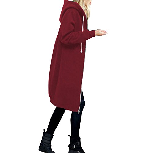 OverDose Damen Herbst Winter Outing Stil Frauen Warm Reißverschluss Öffnen Clubbing Dating Elegante Hoodies Sweatshirt Langen Mantel Jacke Tops Outwear Hoodie Outwear(Rot,EU-46/CN-3XL)