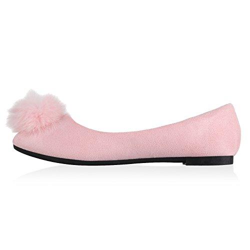 Damen Ballerinas Slipper Loafers mit Spitze Frühling in mehreren Farben 36 -41 Rosa Bommel
