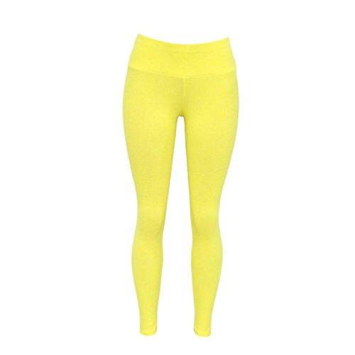 ZhiyuanAN Mujer Leggings Deportivos Yoga Y Ejercicio Pantalones Color  Sólido Leggins Talle Alto Amarillo S ae7a1924c938