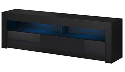 PEGANE Meuble TV Noir/Noir Brillant, en Panneaux de Particules, éclairage LED - Dim : 160 x 35 x 55cm