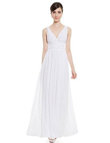 Ever Pretty Damen V-Ausschnitt Lange Chiffon Abendkleider Festkleider 48 Weiß