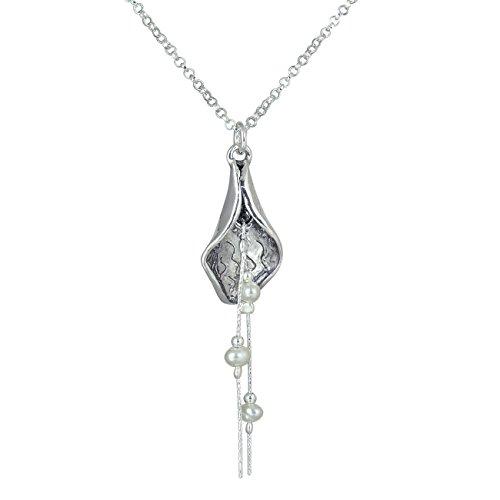 925Sterling Silber Halskette Süßwasser-Zuchtperle & Exquisite Glockenförmige-Anhänger, 45,7cm + 10,2cm Extender (Juwel Vintage Hals)