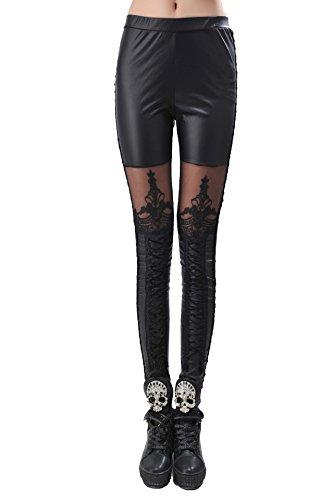 Pantalones largos de estilo gótico para mujer - Pantalones con encaje - Cintura de 60-80cm