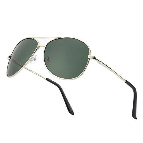 CGID GA03 Occhiali da Sole Premium Lega Al-Mg Completamente a Specchio Aviator Polarizzati UV400, Occhiali da Sole con Cardini a Molla per Uomo Donna