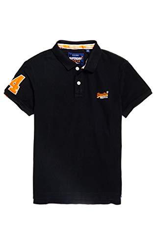 Classic Fit Polo T-shirt (Superdry Herren CLASSIC PIQUE POLO Poloshirt, Schwarz (Black 04a), 2XL)