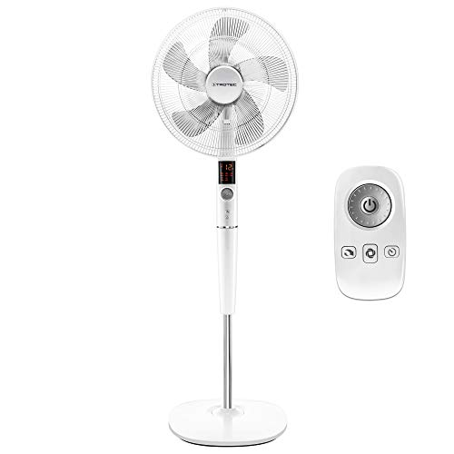 TROTEC Design-Standventilator TVE 26 S geräuscharmer Ventilator, 26 Gebläsestufen, Automatische 85°-Oszillation mit Abschaltfunktion, 35 Watt, stufenlos höhenverstellbar von 120 bis 137 cm