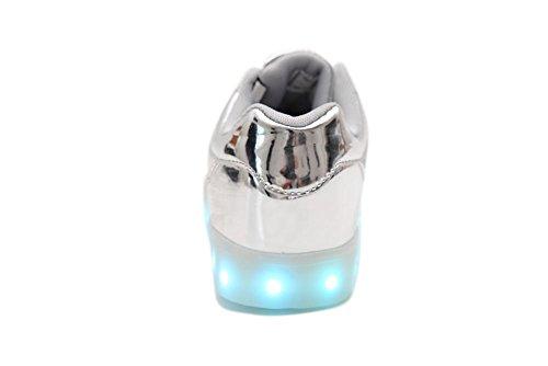 IDEA FRAMES 7 Farbe USB-Aufladung LED-Schuhe für Kinder Beiläufiger Turnschuh Mädchen und Jungen sport schuhe Silber