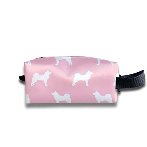 Akita Dog Fabric - Akita Silhouette - Cane Silhouette Design - Blossom Pink_7392 Portatile da viaggio Makeup Cosmetic Bags Organizer Multifunzione Borse per unisex