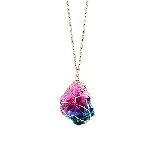 BESTOYARD Halskette mit Quarz Kristall Anhänger für Frauen Mädchen (zufällige Stil) (Regenbogen-halskette)