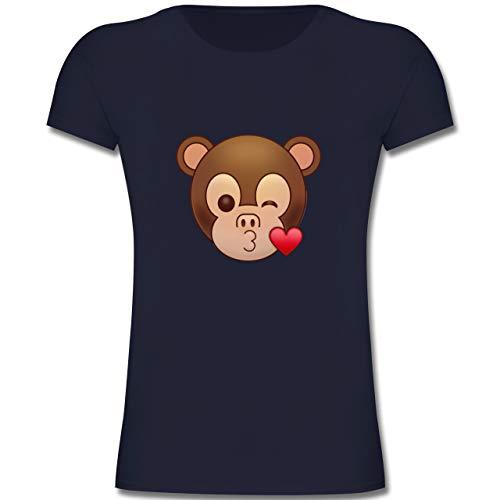 Up to Date Kind - Küsschen Äffchen Emoji - 140 (9-11 Jahre) - Dunkelblau - F131K - Mädchen Kinder T-Shirt