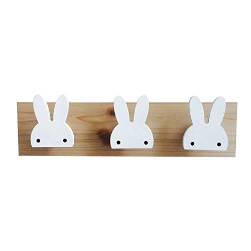 Display08 - Colgador de pared de madera con diseño de estrella de conejo, 3 ganchos, para decoración de habitación de niños