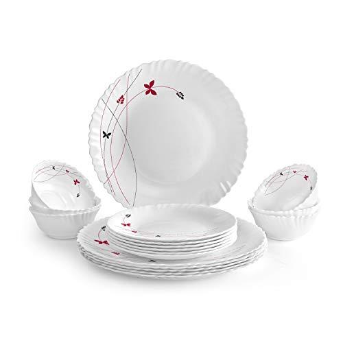 Cello Lush Fiesta Opalware Dinner Set, 18-Pieces, White