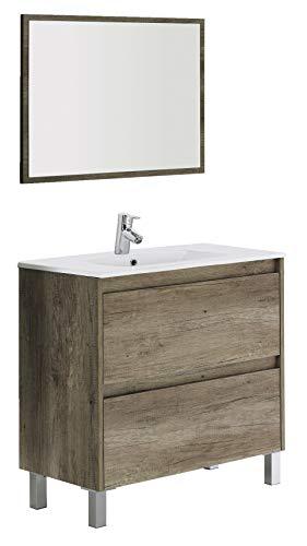 Arkitmobel 305040H Dakota - Mueble de baño con 2 cajones y espejo, color madera (nordik), 80 x 80 x 45 cm