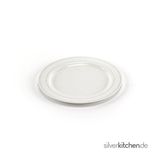 ller hochwertig Plastik Einweg weiß/silber Ø 19cm 20 Stück (Silber-kunststoff-teller)