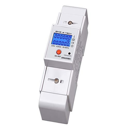 B+G E-Tech DRS255BC - LCD digitaler Wechselstromzähler Stromzähler Wattmeter mit multifunktionaler Anzeige und Tageszähler 5(50) A für Hutschiene mit S0 Schnittstelle 1000imp./kWh -