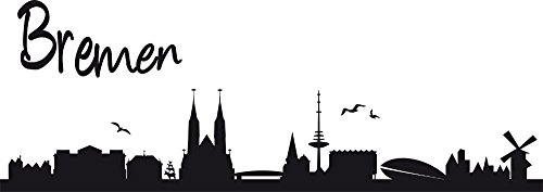 Preisvergleich Produktbild GRAZDesign Wandtattoo Wohnzimmer Skyline Stadt - Wandaufkleber Hansestadt Bremen - Büro Einrichten mit Wandtattoo Unterricht - Wanddeko Wohnzimmerwand / 85x30cm / 630165_30_070