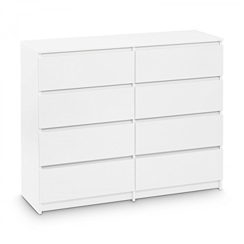 Kommode mit 8 Schubladen 120cm Sideboard Mehrzweckschrank Anrichte Diele Flur Esszimmer Wohnzimmer Weiß